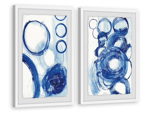 Painted Blue Circles Diptych