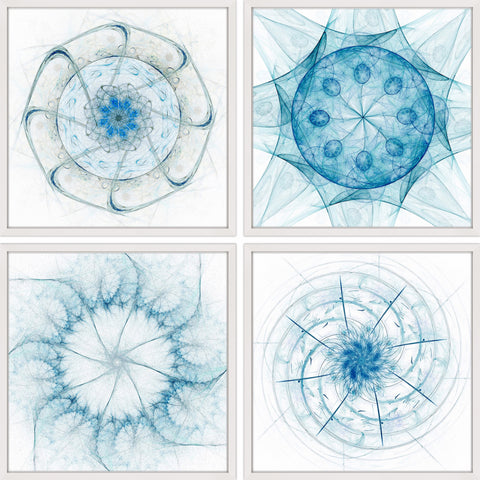 Blue Dimensions Quadriptych