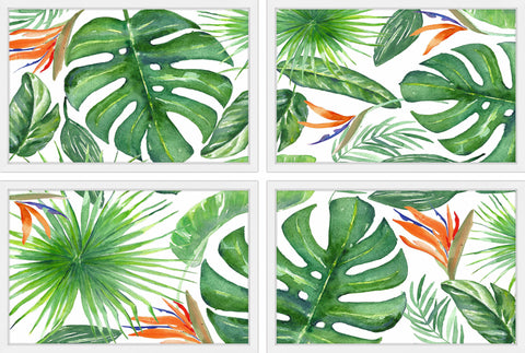 Banana Leaves Quadriptych