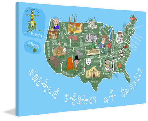 Blue United States of America Map