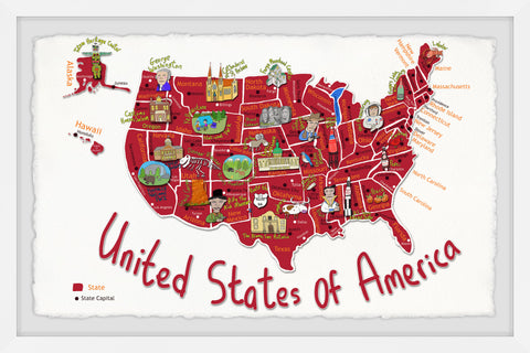 Red United States of America Map