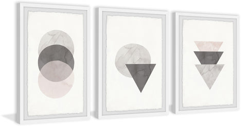 Triangle and Circle Stack Triptych