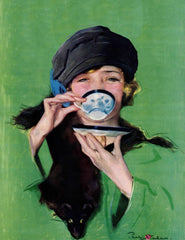 Elegant Lady Drinking Cup of Tea