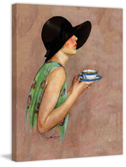 Lady in Wide Brim Hat Holding Tea Cup