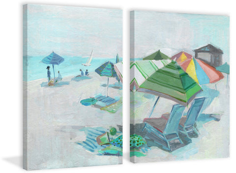 Colorful Beach Umbrellas Diptych