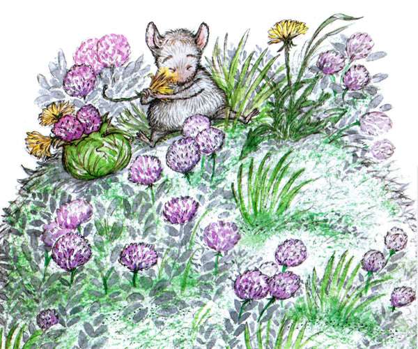 Mouse and Purple Flowers