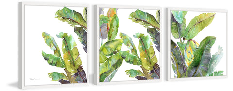 Chic Banana Leaves Triptych