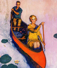 Couple Paddling Canoe