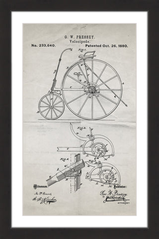 Velocipede 1880 Old Paper
