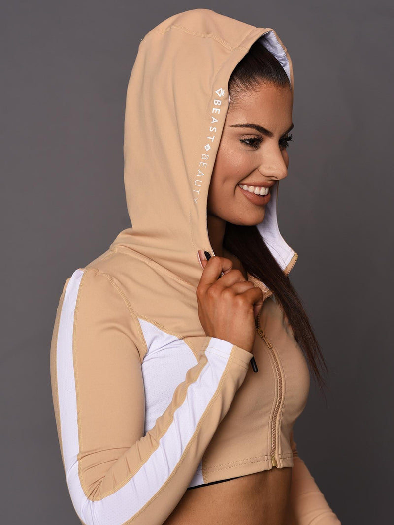 Beauty Crop Zip-Up Hoodie - Beige - Be Activewear