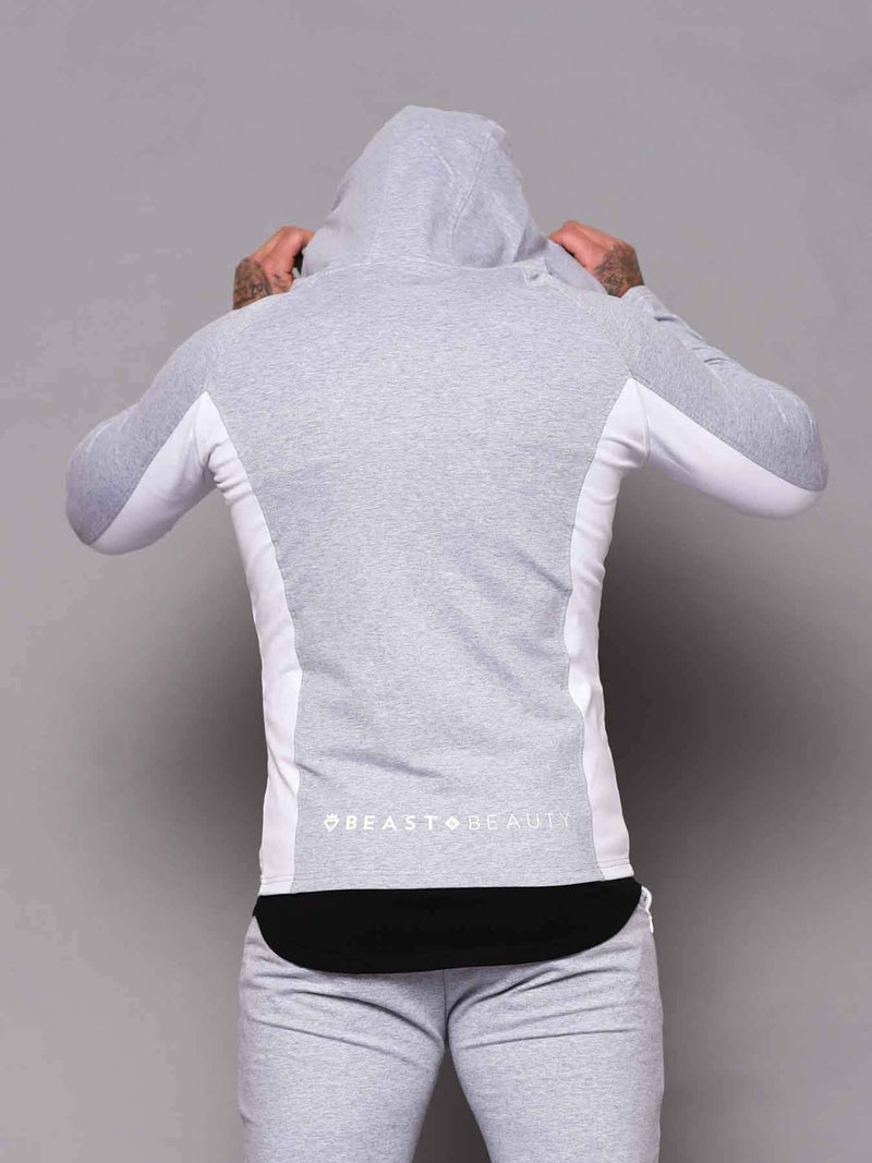 Aesthetic 2 Tone Hoodie - Grey and White - Be Activewear