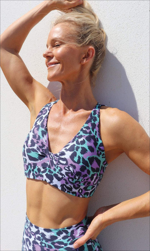Carra Lee Active Crop Top Magic Cheetah Eco Diamond Back Bra