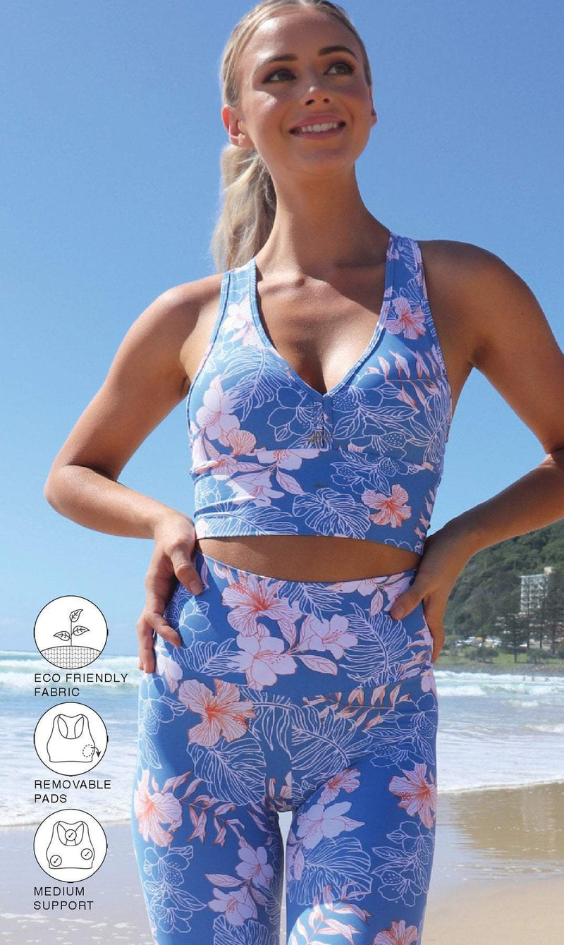 Hibiscus Kiss Racer Back Bra - Be Activewear