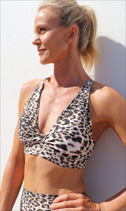 Carra Lee Active Crop Tops White Cheetah Infinity Bra