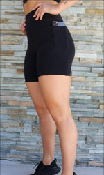 Midnight Body Contouring Midi Shorts with Pockets - Be Activewear