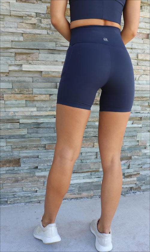 Navy Body Luxe Midi Shorts with Pockets - Be Activewear