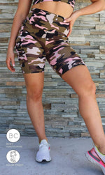 Urban Camo Body Contouring Biker Shorts with Pockets - Be Activewear