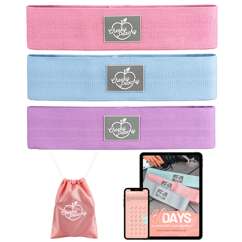 Cheeky Peachy Booty Bands Essential Fabric Resistance Band Bundle (Get ALL 3 levels of resistance) + FREE Workout eBook