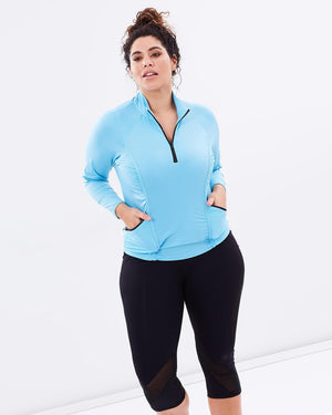 Curvy Chic Long Sleeve Top Stay Cool Long Sleeve Top - Blue