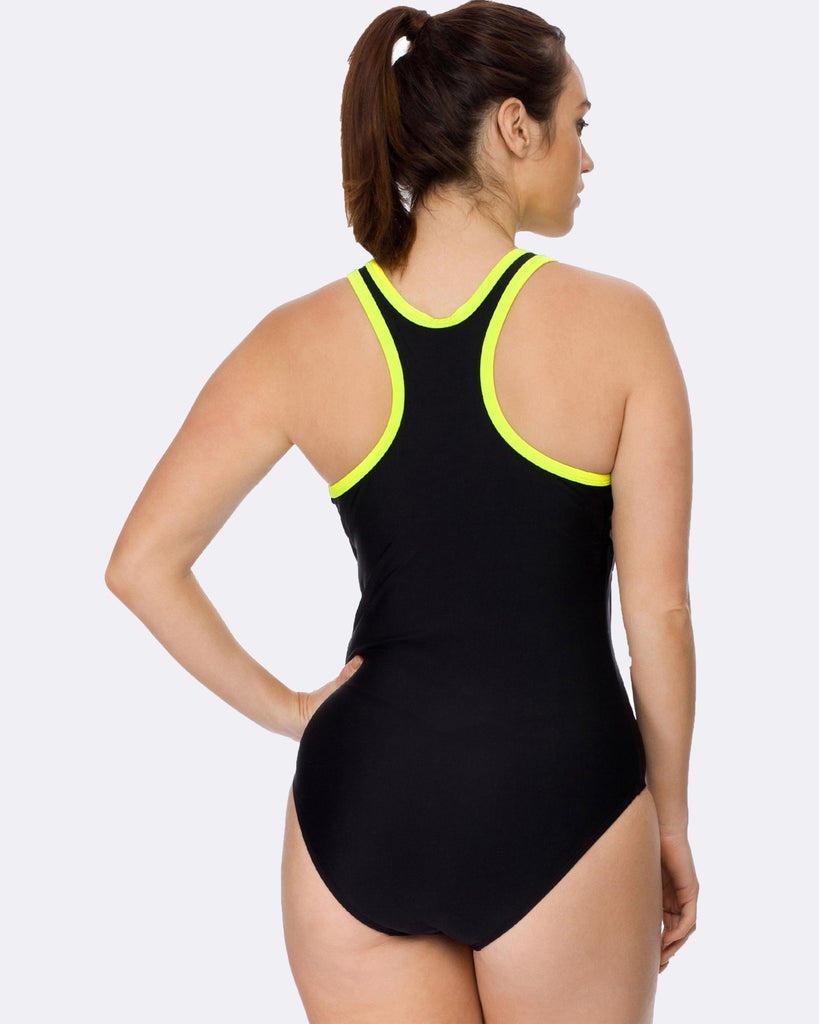 Curvy Chic Swimmers Racerback Swimsuit - Black / Yellow
