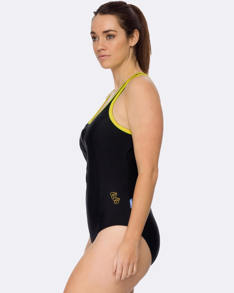 Racerback Swimsuit - Black / Yellow - Be Activewear