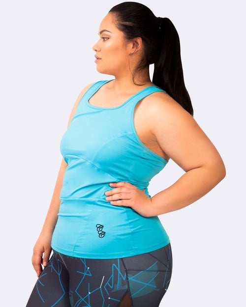 Action Back Tank - Turquoise - Be Activewear