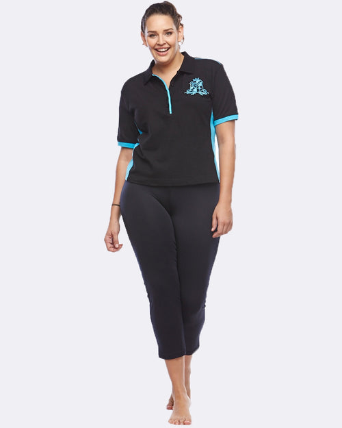 EQ Polo - Black / Cobalt - Be Activewear