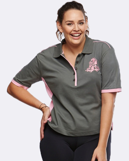 EQ Polo - Charcoal / Pink - Be Activewear