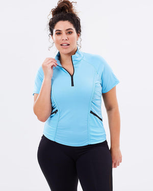 Curvy Chic Tshirt Stay Cool Short Sleeve Top - Blue