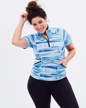 Curvy Chic Tshirt Stay Cool Short Sleeve Top - Blue Print