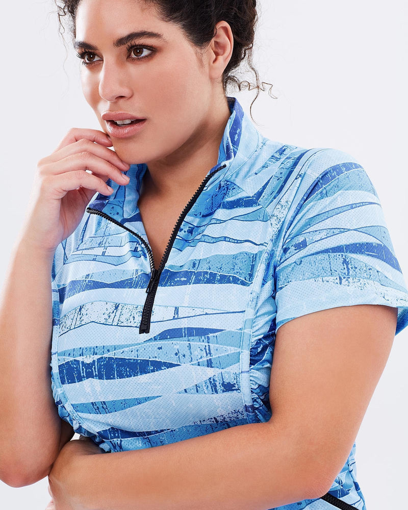 Stay Cool Short Sleeve Top - Blue Print - Be Activewear