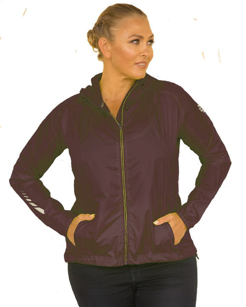 Curvy Chic Womens Hoodie Sun Seeker Wind and Rain Breaker - Black & Lime
