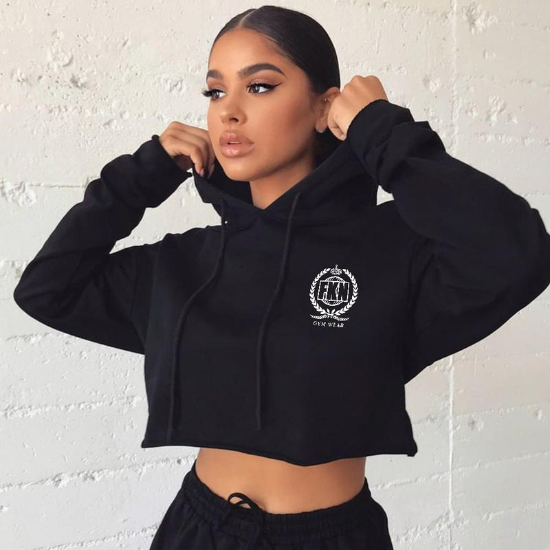 Women's Cropped Gym Hoodie | Black - Be Activewear