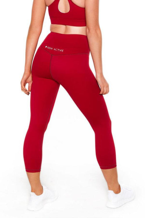 Ava's 7/8th Tights (Red) - Be Activewear