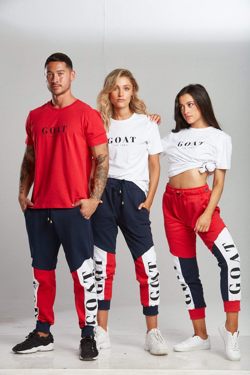 NAVY TRI-PANEL TRACK PANTS (UNISEX) - Be Activewear