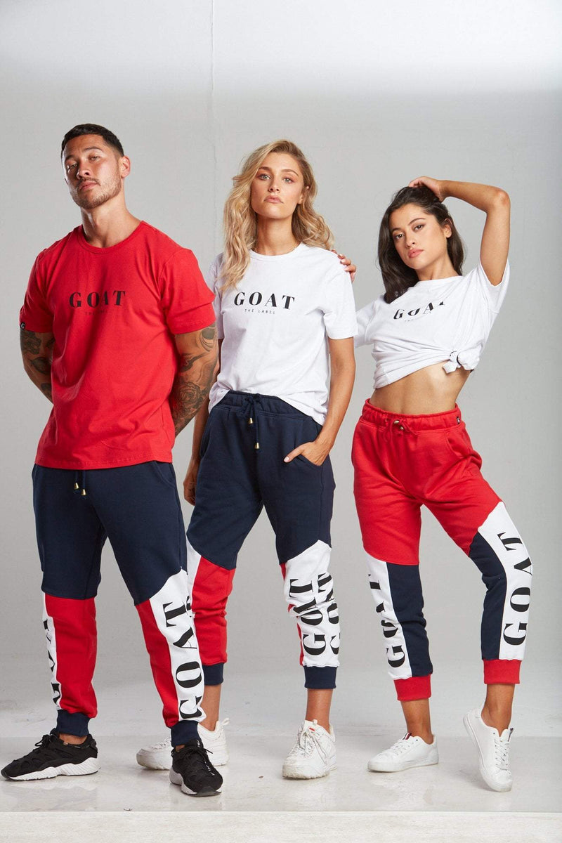 RED TRI-PANEL TRACK PANTS (UNISEX) - Be Activewear