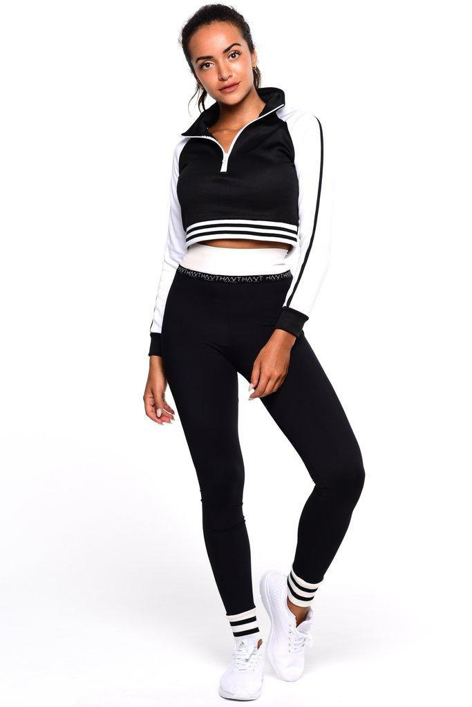 Luna Cropped Jumper - Black - Be Activewear
