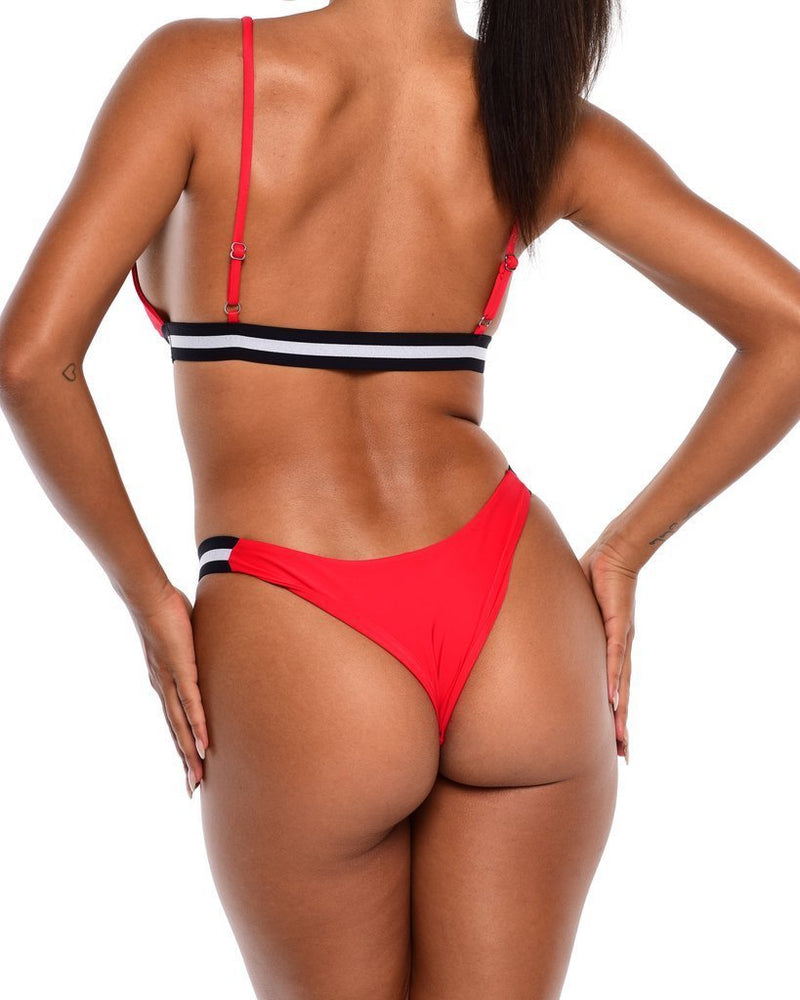 Hawt Apparel Swimmers Iris Bikini Bottoms- Red