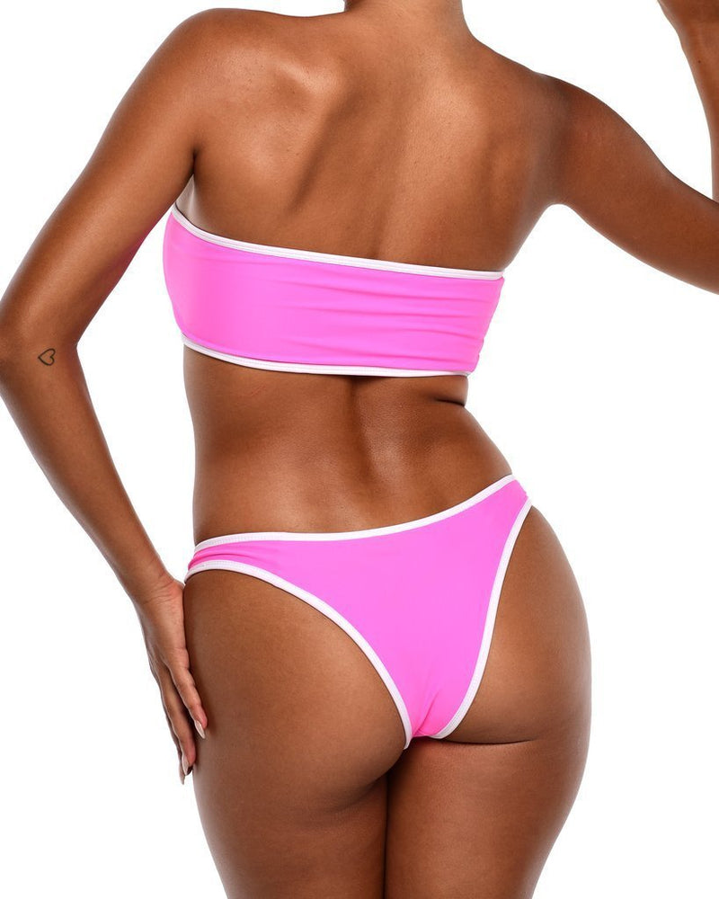 Hawt Apparel Swimmers Neon Bikini Top -Pink
