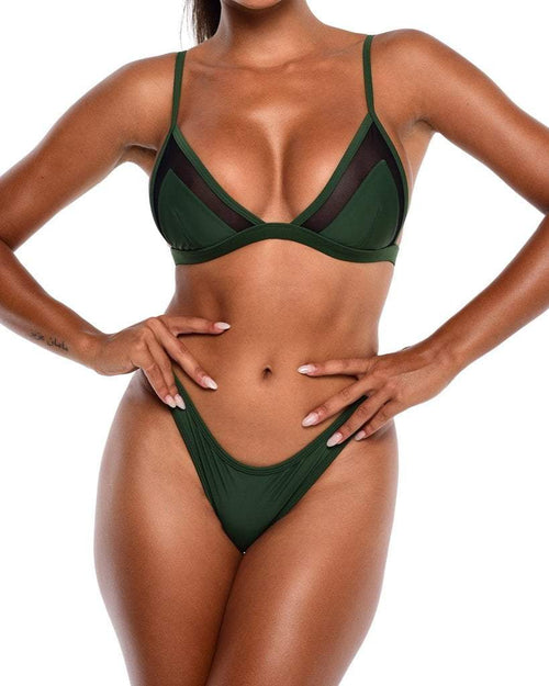 NYX Mesh Bikini Top - Royal Green - Be Activewear