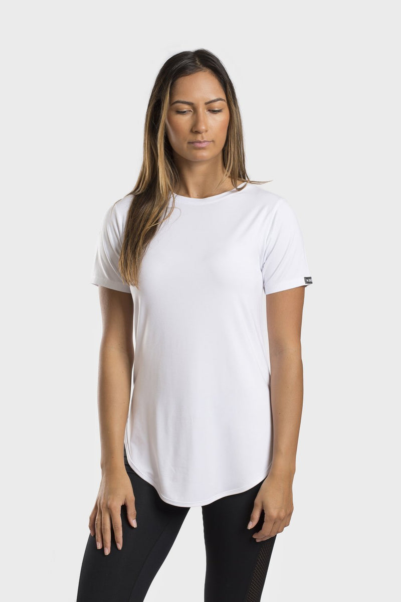 Bamboo Crew Neck Top - White - Be Activewear