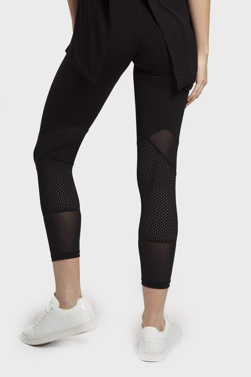 Dual Mesh Panel Pattern Legging - Black - Be Activewear