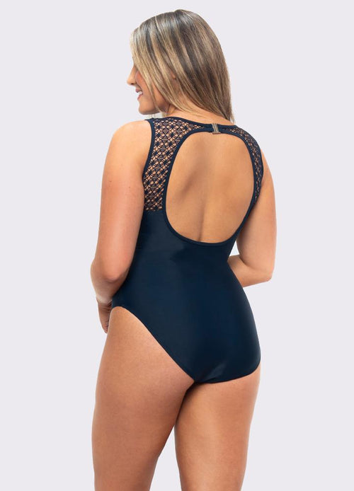 lasculpte Swimmers Chlorine Resistant Mastectomy Lace Yoke Swimsuit