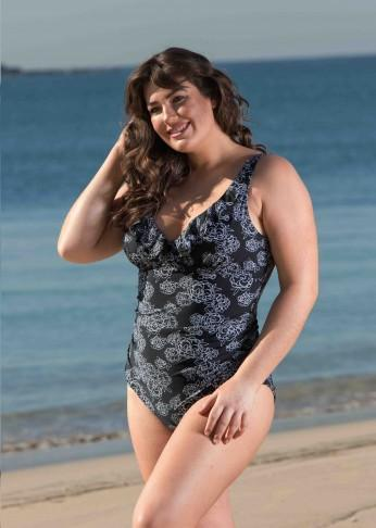 Rose Print Frilled Swimsuit - Be Activewear