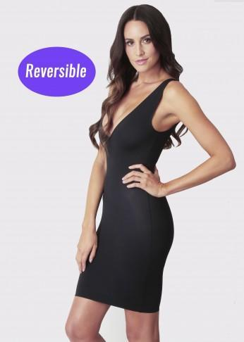 2 Way Reversible Shaping Scoop V-Neck Slip - Black - Be Activewear
