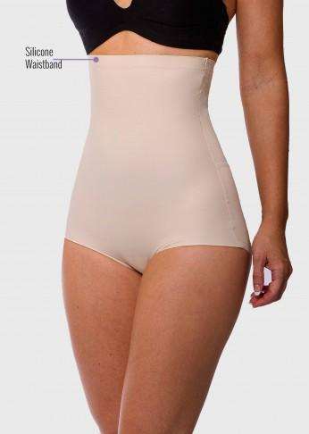 Micro Fiber Shaping High Waist Brief with Silicone - Nude - Be Activewear