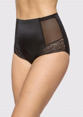 Sheer Shaping full brief lace details  - Black - Be Activewear