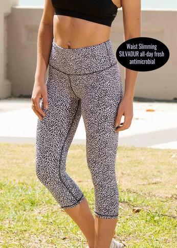 Printed Antimicrobial Crop Legging - Spot Print - Be Activewear