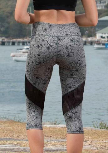 Printed Crop Legging with Mesh Panel - Charcoal Floral - Be Activewear
