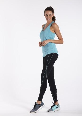 Shaping Contrast Trim F/L Tight - Black / Mint - Be Activewear